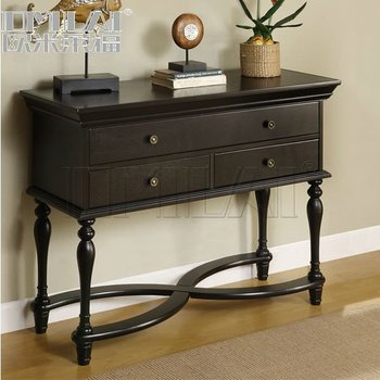 wood curved design console table