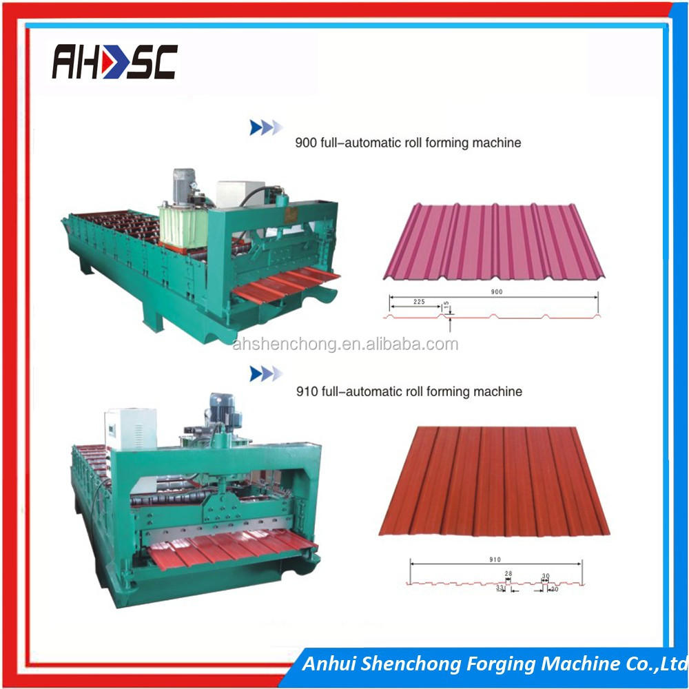 Buy trapezoidal roofing panel tile roll forming machines equipment from China for the small business