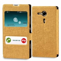 Factory sell leather case flip cover for sony xperia m