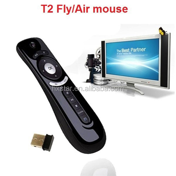 Hot selling Android Gyroscope Mini Fly Airmouse T2 2.4g Wireless Mouse for Android Tv Box Hdtv T2 Air Flymouse Remote Control