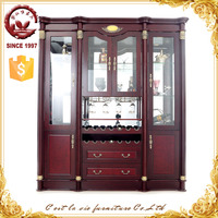 Arabic style antique decoration wooden wine unit display curio cabinet for home