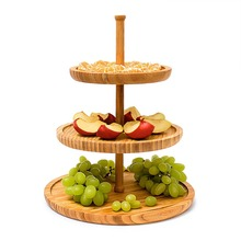 Display Bamboo 3 Shelf Serving Cakes Appetizer <strong>Plate</strong>