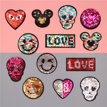 Reverse Sequin patch SEW ON Double Colors double sizes Reversible Sequined Patches lentejuelas DIY decoration T-shirt