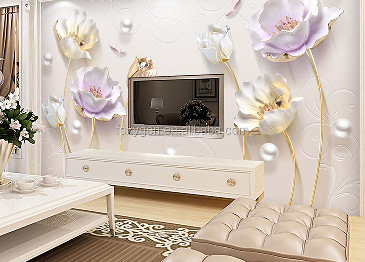 fancy flower panel design 3d stereoscopic home decoration tv background wall papers