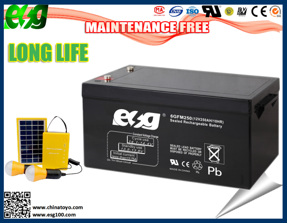 Large storage solar system used 12 volt rechargeable battery