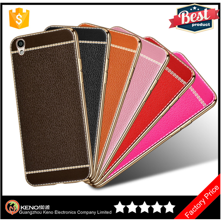 Hot selling Light Innovative Fashion soft Electroplating TPU with Lichee leather pattern skin mobile cell phone cover oppo R9