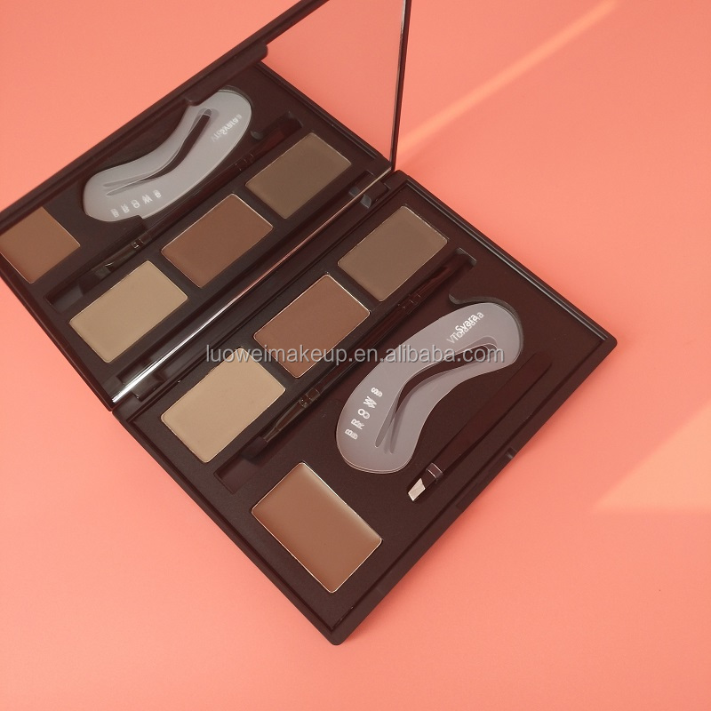 Hot Sale 4 Color Shimmer High Pigment Cream Pressed Powder Eyebrow Palette