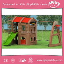 Kindergarten Wooden Play House with Slide and Swing for Sale
