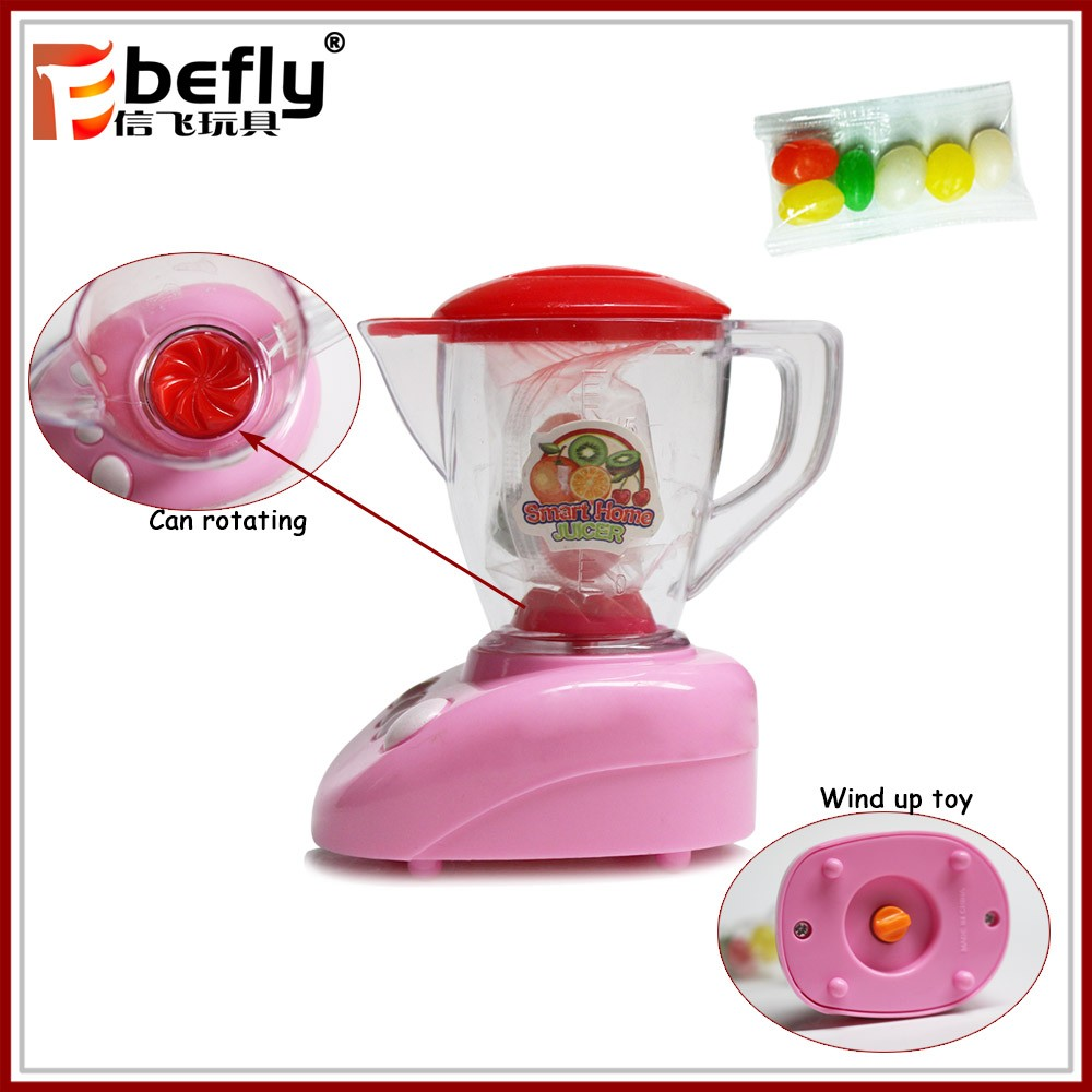 Transparent tube plastic candy containers with toy wind up