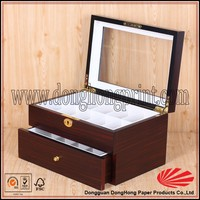 Antique Wooden Custom Jewelry Boxes Packaging With Clear Window