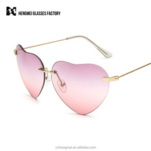 Ladies Heart Shaped Sunglasses Women Brand Designer Fashion Rimless LOVE Clear Ocean Lenses Sun Glasses UV400