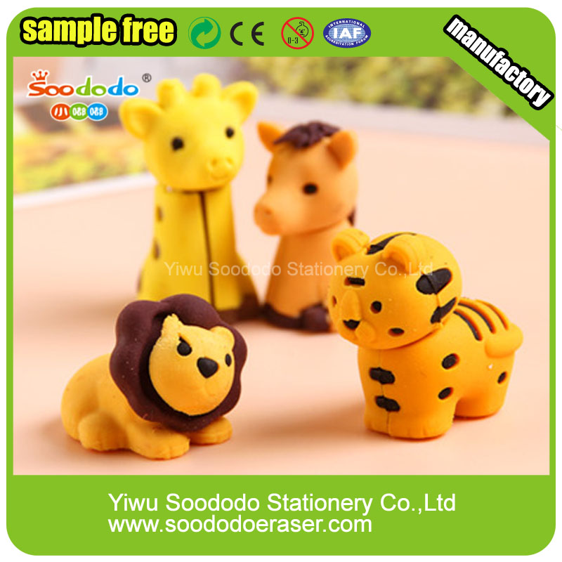 2015 Hotsale Assembly Cute New Mini Free Zoo Animal Erasers For Kids