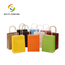 Wholesale custom logo printing cheap colorful kraft paper bag with handles