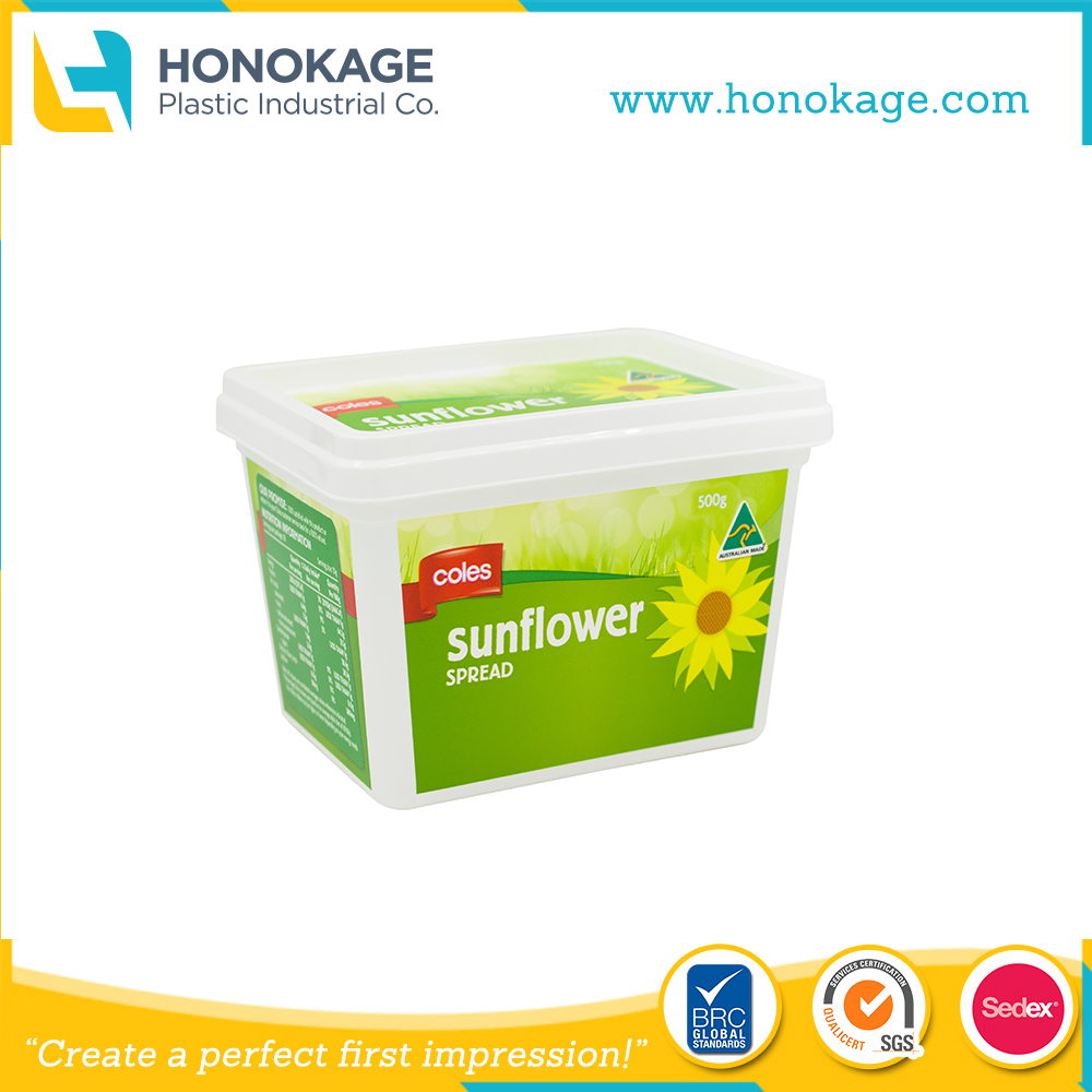 0.5L IML Plastic Margarine Container Rectangular PP Plastic Colorful Butter Tub with Lid