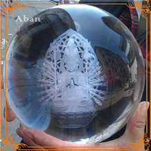large crystal ball decoration, engraving Buddhism showpieces