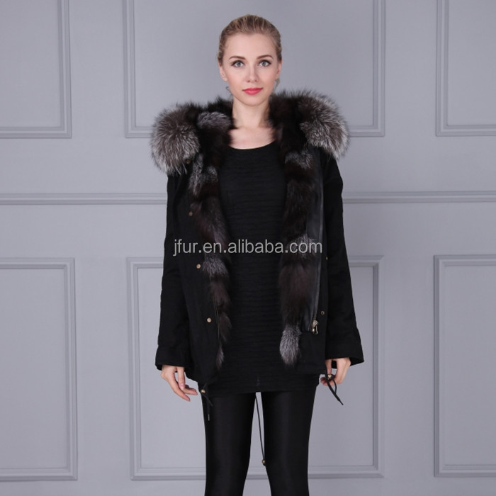 Fantastic Desgin Wild Whole Fur Overcoat Real Animal Fur Coat parka with fur collar