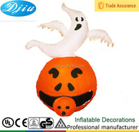 Inflatable Light-up Pumpkin with White Ghost for Halloween Decoration