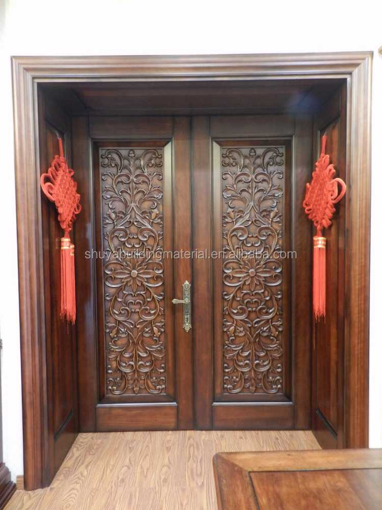 latest design wooden carved solid wood interior door