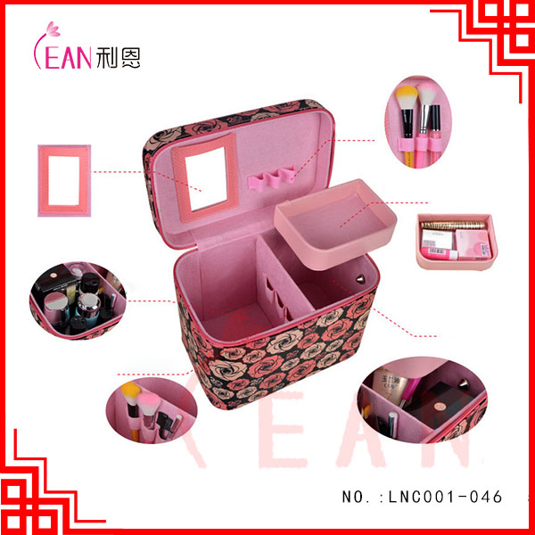 2017 hot sale high-capacity double-deck creative fashion,make up brush cosmetic case,fabric bags with mirror