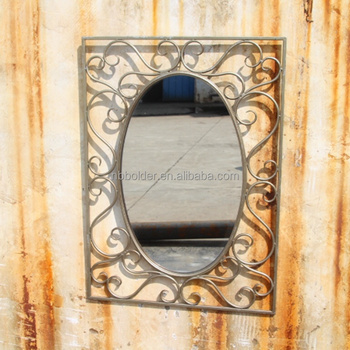 Wholesale bathroom living room wall hanging decorative rectangle cream white metal wire dressing mirror for home decor