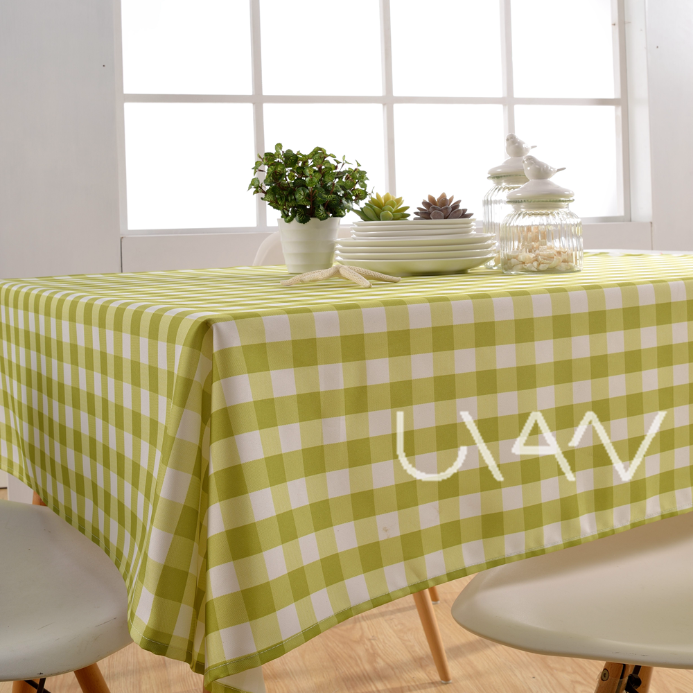 Wholesale Green Squares100% Polyester Printed Tablecloth