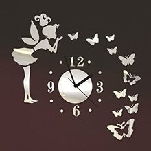 Angel Beauty Butterfly and Figure Wall Clock Removable DIY Acrylic 3D Mirror Wall Decal