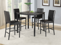 5 piece faux marble top black metal dining table set with 4 dining chairs