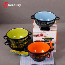 Custom printed balck gift ceramic soup bowl with spoon