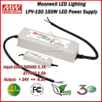 Meanwell LED Driver LPV-150-24 (150W 24V 6.3A) Single Output 150W 24 Meanwell Waterproof Electronic LED Driver