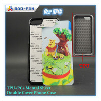 2014Newest Sublimation Phone Case for IP6 TPU+PC with Mental Sheet Double Cover Protect Phone Case Top Quality