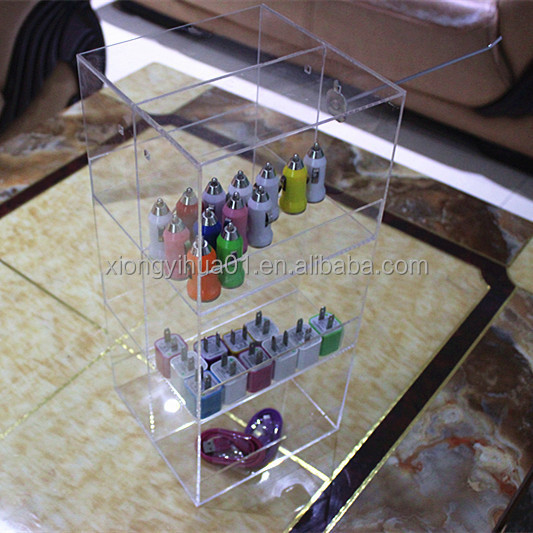 Transparent Acrylic Phone Accessories Counter Display Stand Filled USB Plug/Home Charger /Car Charger/Cables