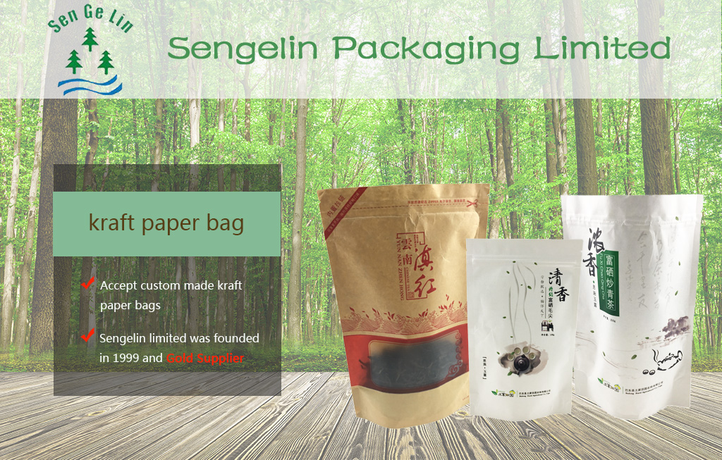 Resealable ziplock custom clear window stand up zipper pouch kraft paper tea packaging bags