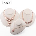 FANXI china wholesale egg shape beige color MDF jewelry display stand for counter pendant necklace display bust wooden
