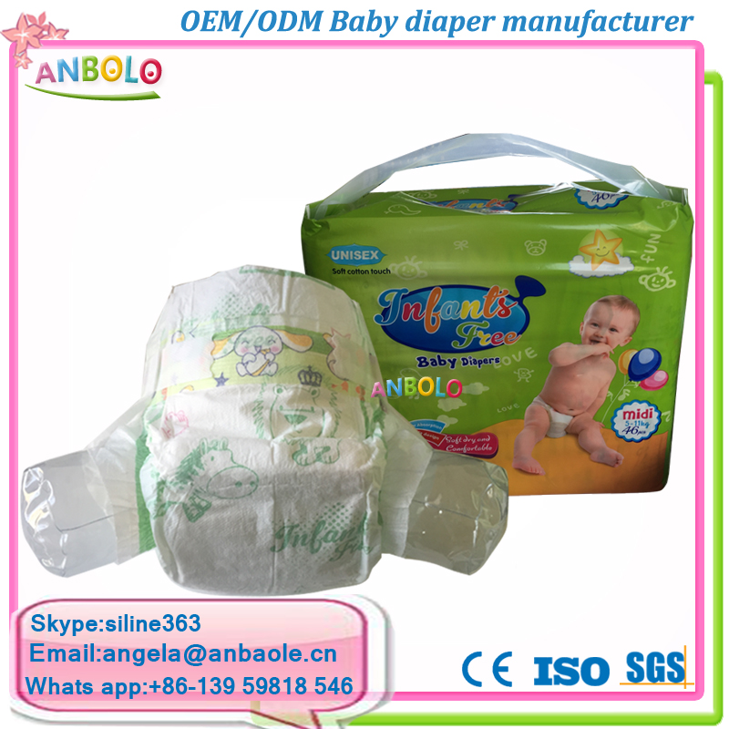 Disposable Soft Dry Surface Printed Absorbent Paper Diapers