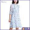Wholesale Clothing Light Blue Floral Full Print Chiffon Dresses On Sale