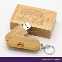 free shipping Wholesale custom logo rotating +box usb 2.0 wooden flash drive