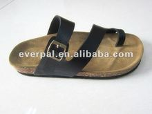 2012 black lady leather sandal slipper shoes manufacture