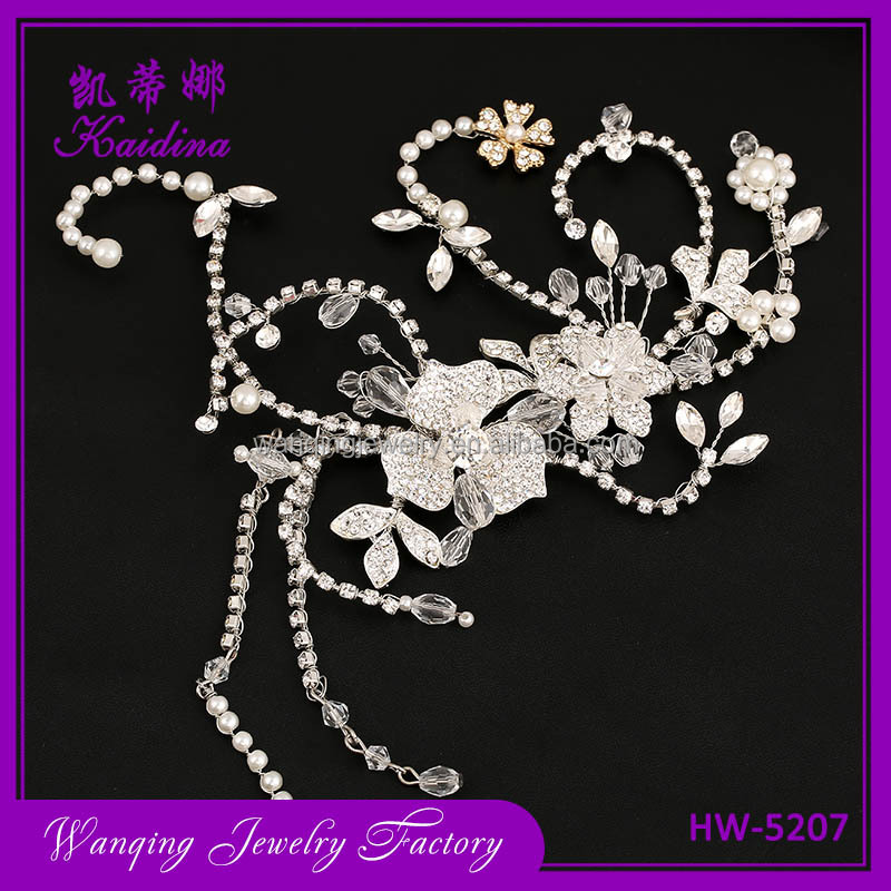 New Bridesmaid Bridal Wedding Silveren Leaves Crystal Silver Flower Hair Headband