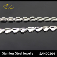 SAN00204-1 2015 New Arrival Fashion Stainless Steel Simple Designs Heart Shape Pure Silver Chain Necklace