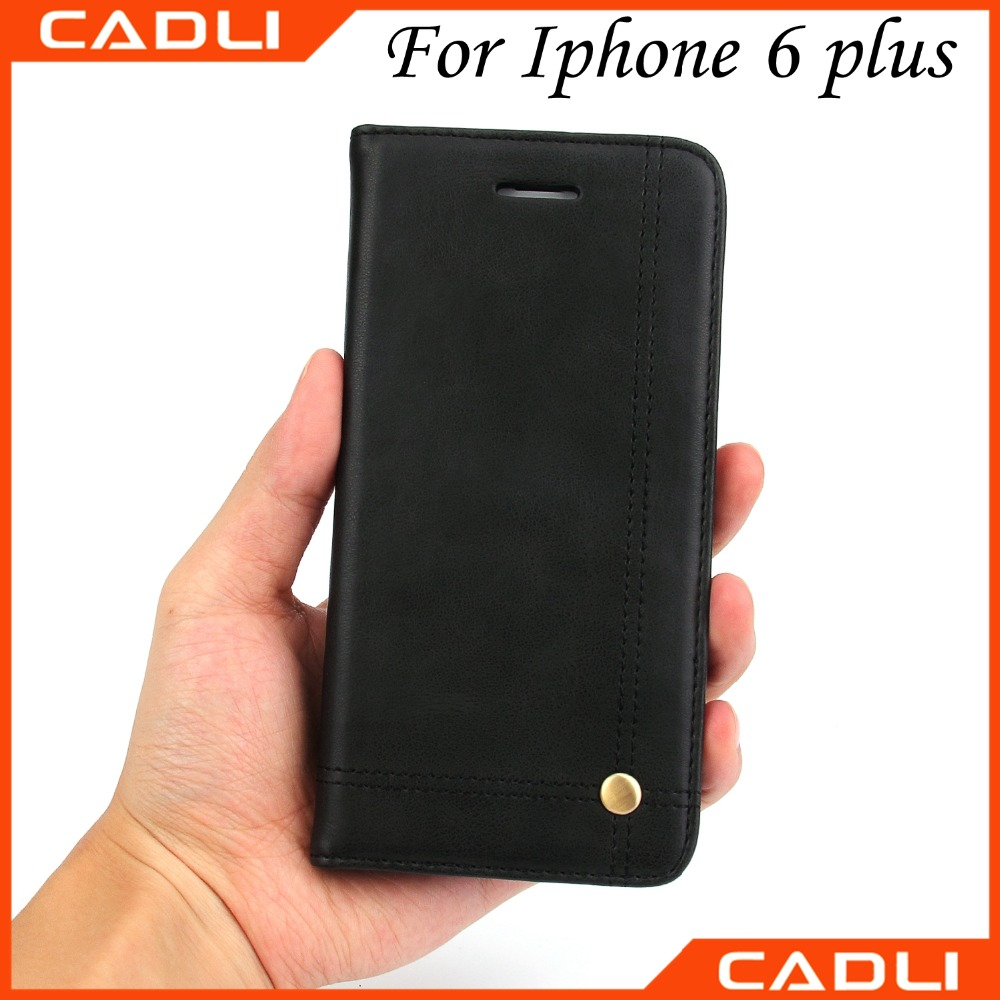 Black color Good quality Squirrel line Leather wallet stand Case for iPhone 6 plus 5.5 inch