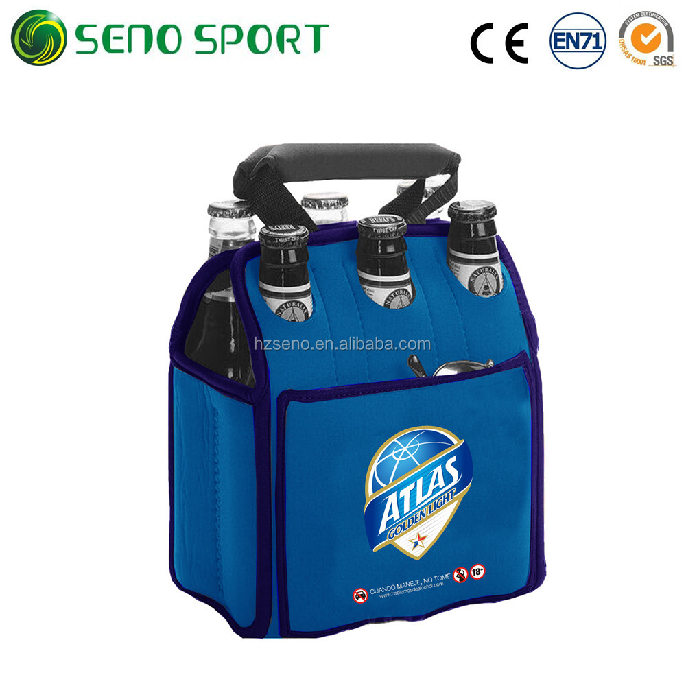Customized Printing Neoprene 6-Pack Beer Bottle Cooler Bags For Promotion