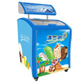 138L Commercial Open Curved Glass Door Display Chest Mini Ice Cream Freezer With Advertising LED Box