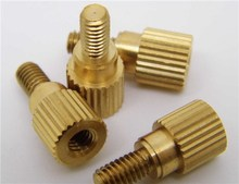 Custom brass female knurled threaded forming screw with internal thread