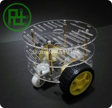 Free shipping 2WD Smart Robot Car 3 Layer Acrylic Acrylic Chassis Kits with Speed Encoder for aduino