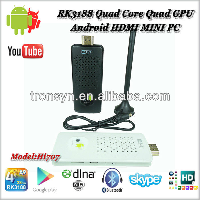 2013 New Arrival ARM Cortex-A9 1.8GHz RK3188 Quad Core Android 4.2 Smart TV Box Built-in Dual Camera