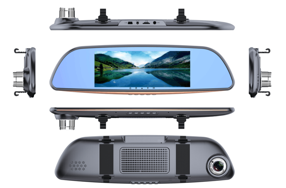 6.5 Inch Screen FHD1080P Front and Rear Mirror Dual Camera Car Dvr