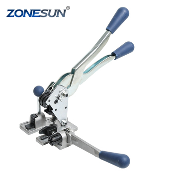 ZONESUN 2 in 1 manual pp strapping tool portable pp strapping tensioner and sealer machine for belt width 12-16mm