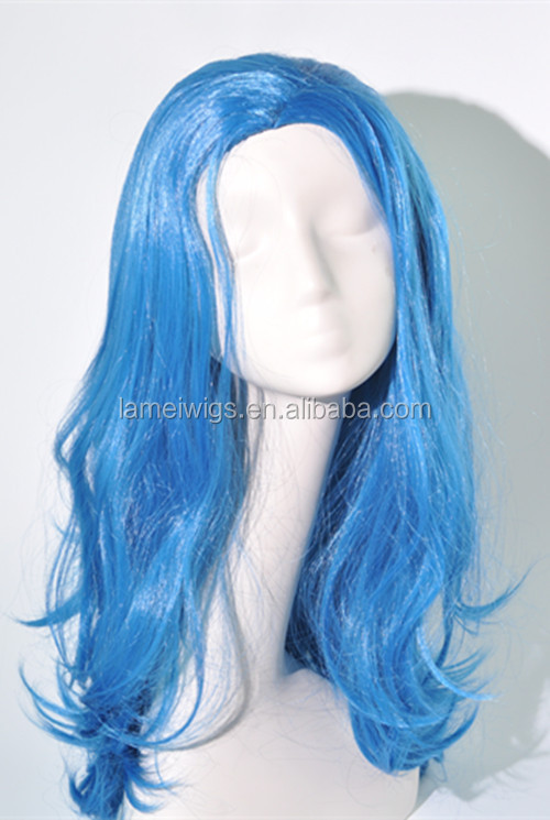 Crazy color costume blue body wave wigs football fans wig N346