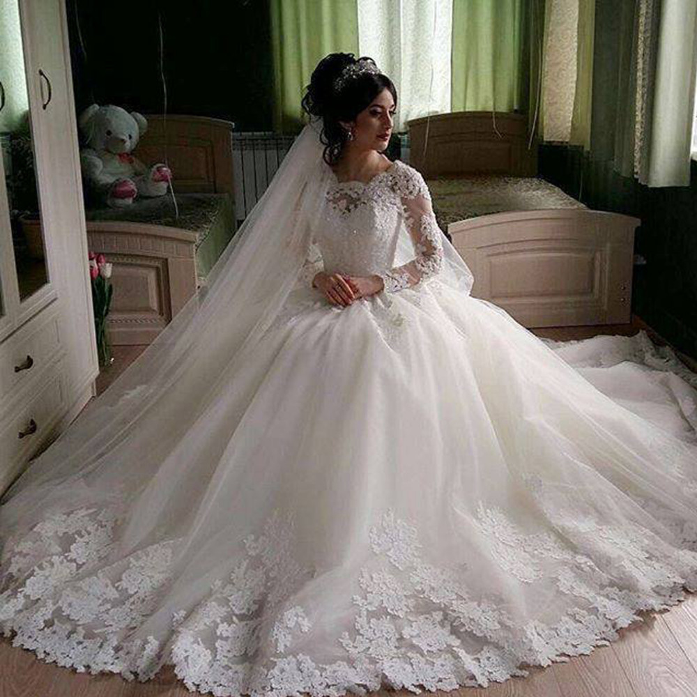 Fa05 Gorgeous Sheer Ball Gown Wedding Dresses 2017 Puffy Lace Beaded ...