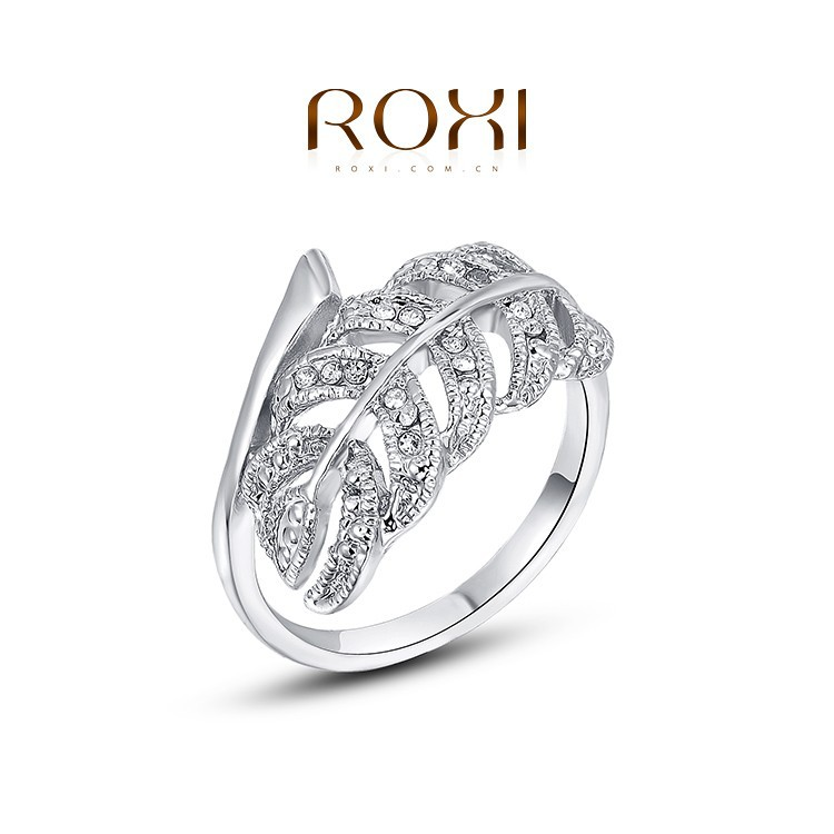 ROXI Fashion Jewelry Plated Engagement <strong>Ring</strong> with Leaves shaped CZ Diamond Kaner wholesale